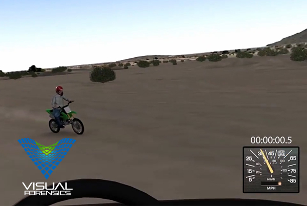 Forensic 3D Animation – Motorcycle Crossing Desert Road