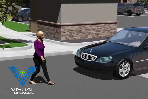 Forensic 3D Animation – Pedestrian Hit by Car in Parking Lot